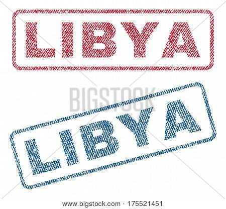 Libya text textile seal stamp watermarks. Blue red fabric vectorized texture. Vector caption inside rounded rectangular banner. Rubber sign with fiber textile structure.