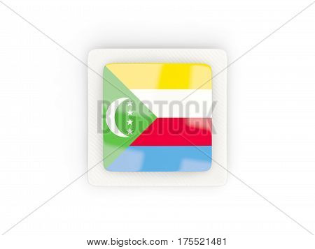 Square Carbon Icon With Flag Of Comoros