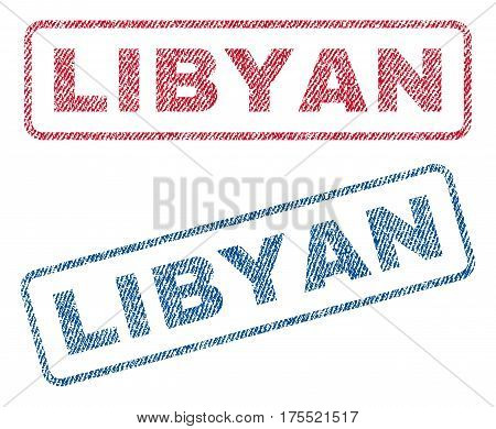 Libyan text textile seal stamp watermarks. Blue red fabric vectorized texture. Vector tag inside rounded rectangular banner. Rubber sign with fiber textile structure.