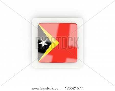 Square Carbon Icon With Flag Of East Timor