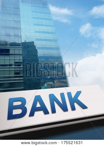 Stock image of a bank sign on building