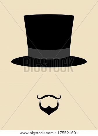 Symbol of a man with hipster mustache and beard wearing vintage hat