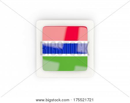Square Carbon Icon With Flag Of Gambia