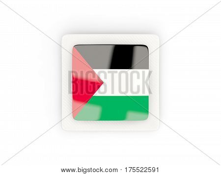 Square Carbon Icon With Flag Of Palestinian Territory