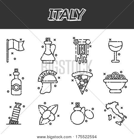 Italy icons set. Welcome to Italy symbols set