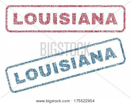 Louisiana text textile seal stamp watermarks. Blue red fabric vectorized texture. Vector caption inside rounded rectangular shape. Rubber sign with fiber textile structure.