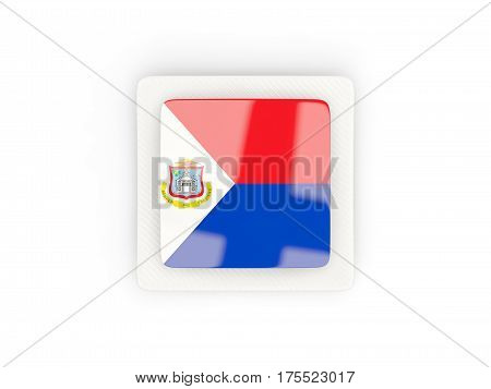Square Carbon Icon With Flag Of Sint Maarten