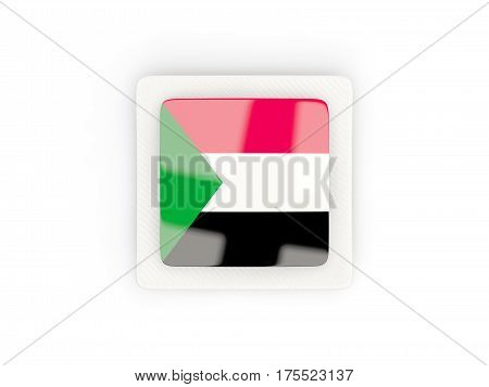 Square Carbon Icon With Flag Of Sudan