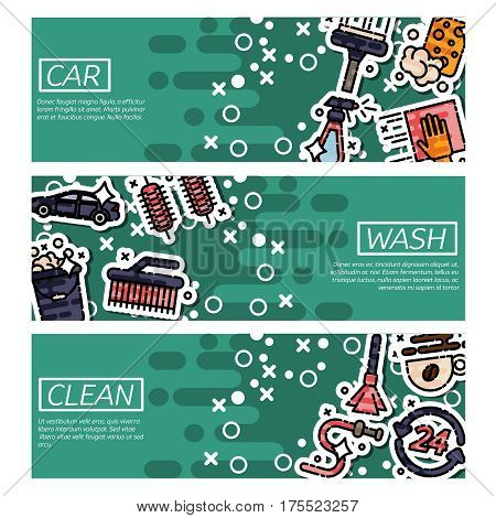 Set of Horizontal Banners about car wash. Vector illustration, EPS 10