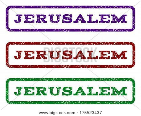Jerusalem watermark stamp. Text tag inside rounded rectangle frame with grunge design style. Vector variants are indigo blue, red, green ink colors. Rubber seal stamp with dirty texture.