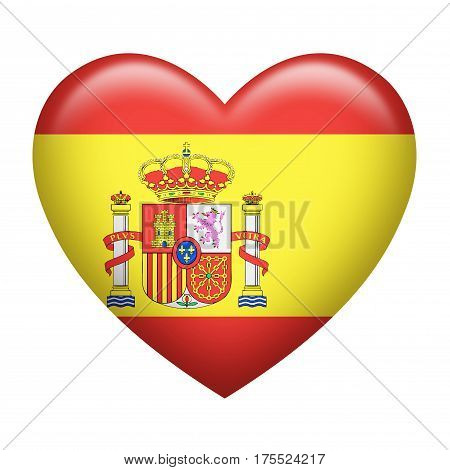 Heart shape of Spanish flag isolated on white