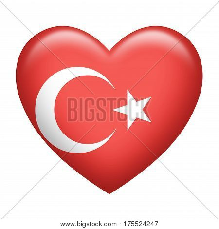 Heart shape of Turkish insignia isolated on white