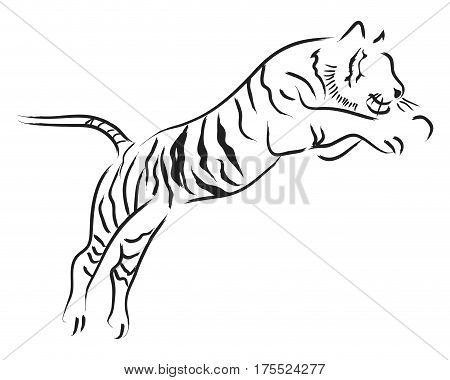 Simple line art of a jumping tiger