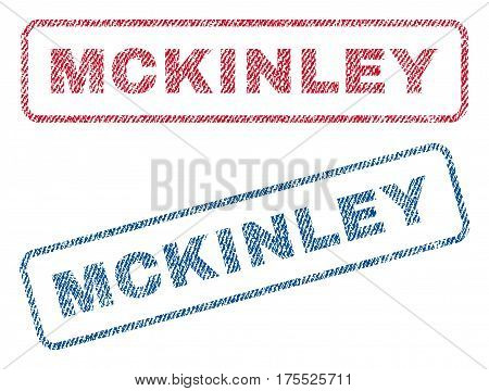 Mckinley text textile seal stamp watermarks. Blue red fabric vectorized texture. Vector tag inside rounded rectangular shape. Rubber sign with fiber textile structure.