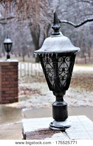 Lantern covered by an Iowa ice storm