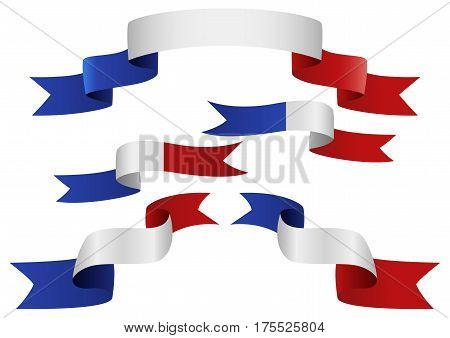 Set of France insignia in different shape of ribbons