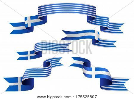 Set of Greek insignia in different shape of ribbons