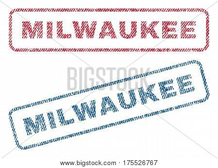 Milwaukee text textile seal stamp watermarks. Blue red fabric vectorized texture. Vector caption inside rounded rectangular shape. Rubber sticker with fiber textile structure.