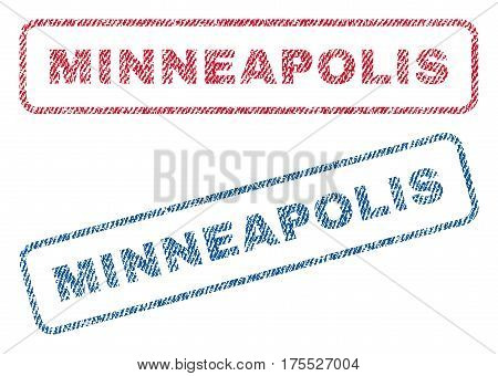 Minneapolis text textile seal stamp watermarks. Blue red fabric vectorized texture. Vector tag inside rounded rectangular banner. Rubber sticker with fiber textile structure.