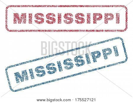 Mississippi text textile seal stamp watermarks. Blue red fabric vectorized texture. Vector caption inside rounded rectangular banner. Rubber sign with fiber textile structure.