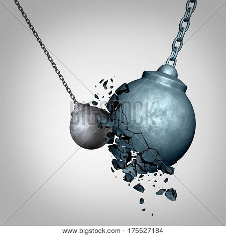 Small business winning and defeating a much larger opponent as a david and goliath metaphor with a tiny wrecking ball destroying a much larger sphere as a symbol for power and courage top win as a 3D illustration. poster