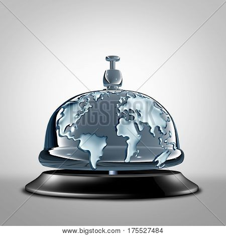 Global service symbol as a front desk hotel bell with the world embosed in the silver as a metaphor for globe communication services and vacation hospitality icon as a 3D illustration.