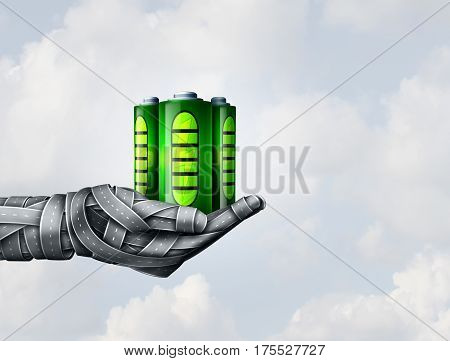 Electric transportation and battery fuel symbol as a group of road objects shaped as a human hand holding rechargeable and renewable energy cell as a metaphor for future transport sustainability as a 3D illustration.