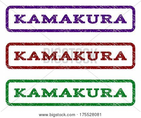 Kamakura watermark stamp. Text caption inside rounded rectangle frame with grunge design style. Vector variants are indigo blue, red, green ink colors. Rubber seal stamp with unclean texture.
