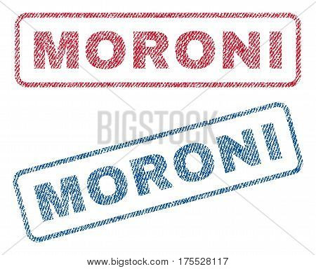 Moroni text textile seal stamp watermarks. Blue red fabric vectorized texture. Vector tag inside rounded rectangular shape. Rubber sign with fiber textile structure.