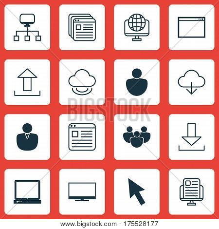 Set Of 16 Online Connection Icons. Includes Website Bookmarks, Login, Human And Other Symbols. Beautiful Design Elements.