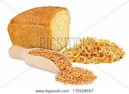 bread, wheat and wheat germ isolated on white