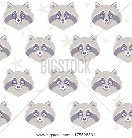 Seamless pattern with character cute and funny raccoon. Vector illustration. Cool stylish wallpaper.