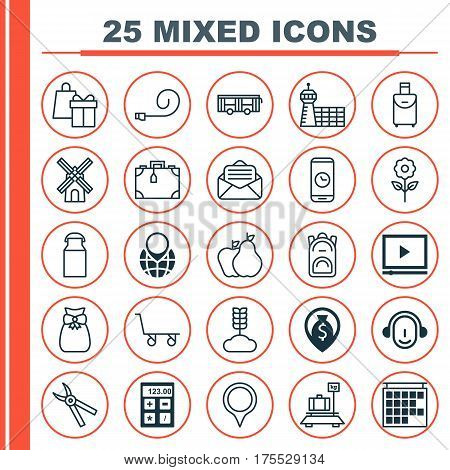 Set Of 25 Universal Editable Icons. Can Be Used For Web, Mobile And App Design. Includes Elements Such As Jug, Employee, Cargo Cart And More.