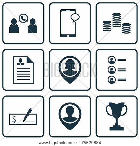 Set Of 9 Hr Icons. Includes Tournament, Employee Location, Messaging And Other Symbols. Beautiful Design Elements.
