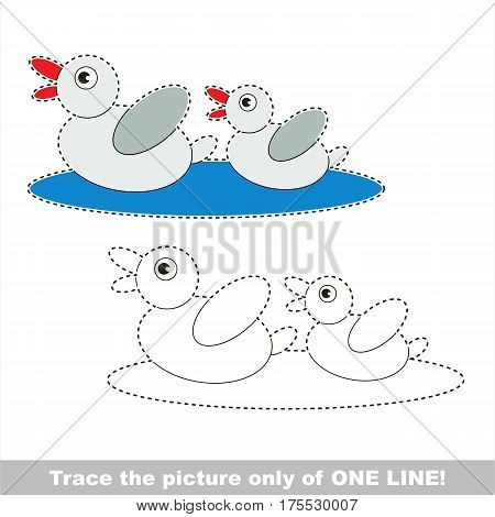 Two ducks. Dot to dot educational game for kids. Trace only of one line.
