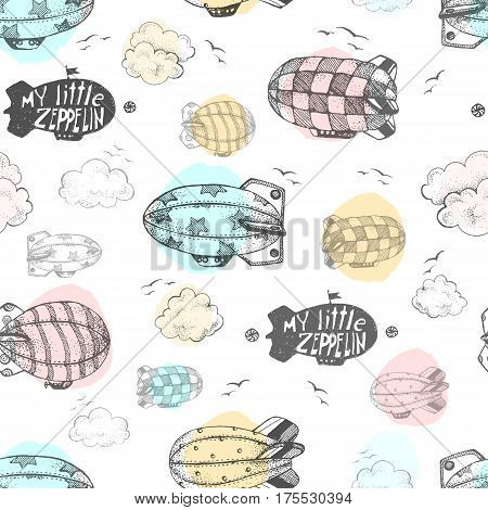 Hand drawn vector vintage seamless pattern with cute little airchips with strips, stars, dots and squares in the sky. Zeppelin, birds and clouds.