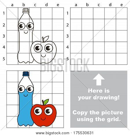 Copy the picture using grid lines, the simple educational game for preschool children education with easy gaming level, the kid drawing game with Water Bottle and Red Apple.
