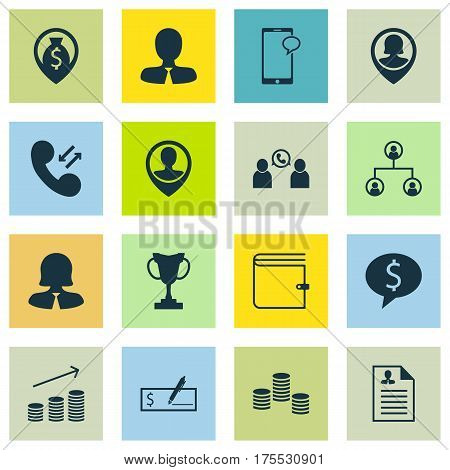 Set Of 16 Human Resources Icons. Includes Messaging, Money Navigation, Employee Location And Other Symbols. Beautiful Design Elements.