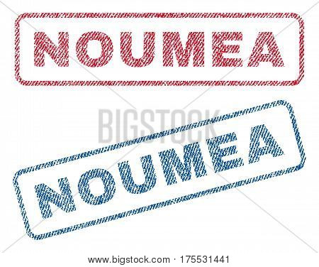Noumea text textile seal stamp watermarks. Blue red fabric vectorized texture. Vector caption inside rounded rectangular banner. Rubber sticker with fiber textile structure.