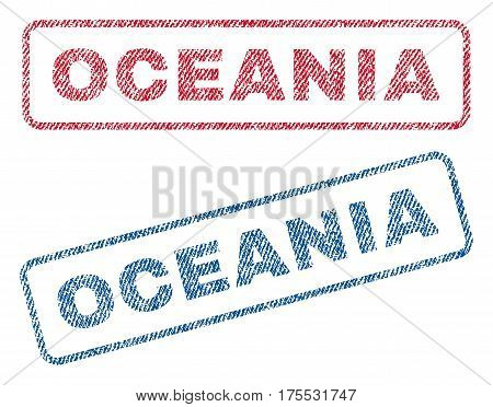 Oceania text textile seal stamp watermarks. Blue red fabric vectorized texture. Vector caption inside rounded rectangular shape. Rubber sign with fiber textile structure.