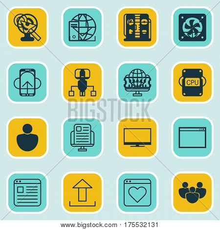 Set Of 16 Web Icons. Includes Team, Local Connection, Followed Website And Other Symbols. Beautiful Design Elements.