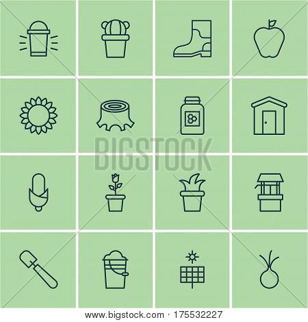 Set Of 16 Holticulture Icons. Includes Tree Stub, Water Source, Rubber Boot And Other Symbols. Beautiful Design Elements.