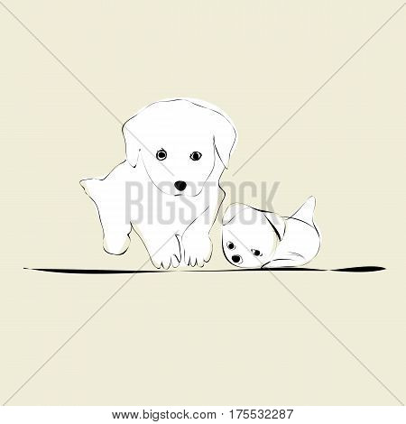 illustration with white doggies on beige background