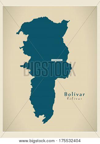 Modern Map - Bolivar Ec Illustration Silhouette