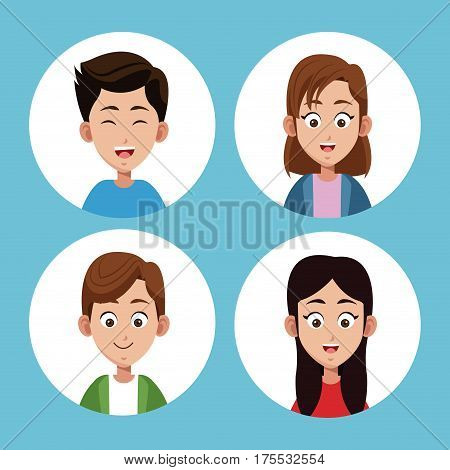 group sister and son together vector illustration eps 10
