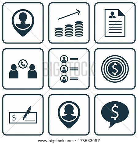 Set Of 9 Management Icons. Includes Business Goal, Coins Growth, Phone Conference And Other Symbols. Beautiful Design Elements.