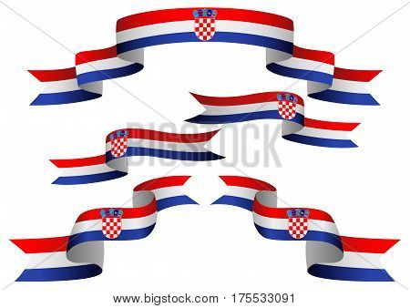 Set of Croatia insignia in different shape of ribbons