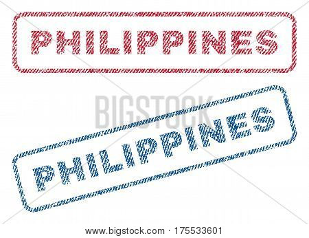 Philippines text textile seal stamp watermarks. Blue red fabric vectorized texture. Vector tag inside rounded rectangular shape. Rubber sticker with fiber textile structure.