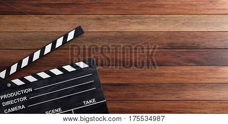 Movie Clapper On Wooden Surface. 3D Illustration