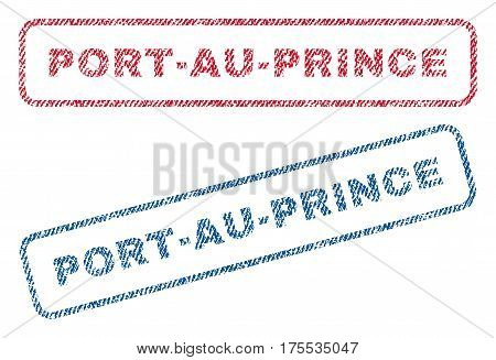 Port-Au-Prince text textile seal stamp watermarks. Blue red fabric vectorized texture. Vector tag inside rounded rectangular banner. Rubber sticker with fiber textile structure.